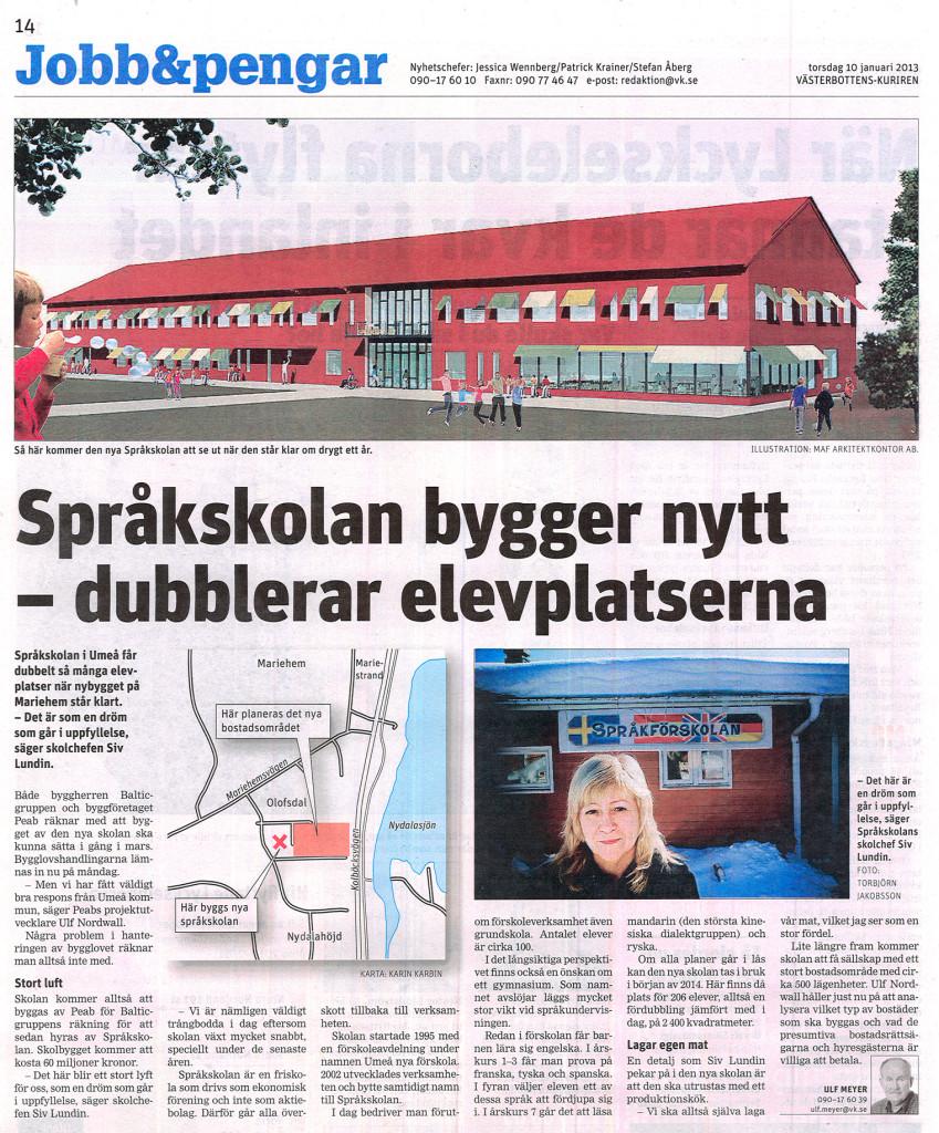 Språkskolan i Västerbottens-kuriren 2013-01-10