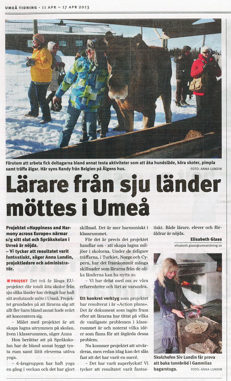 Umeå Tidning 2013-04-11 Lärare från sju länder möttes i Umeå