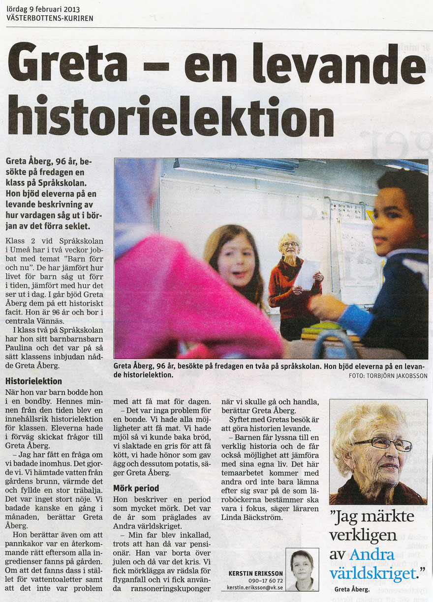 VK 2013-02-09 Greta - en levande historielektion