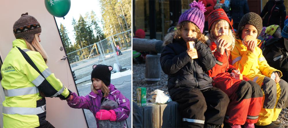 """Balticgruppens Maria delar ut ballonger och """"goodiebags"""" från Nåiden."""