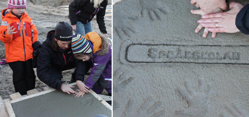 En minnesplatta göts med Språkskolans logotyp och barnens avtryck.