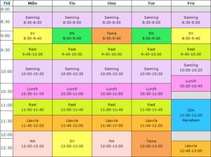 Exempel på schema för förskoleklassen.